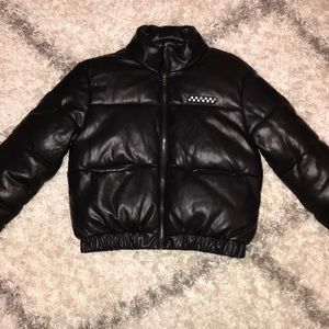 Forever 21 black faux leather puff jacket